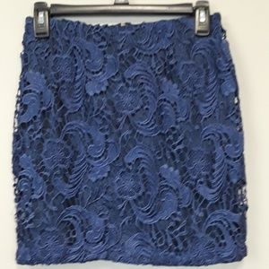 Forever 21 blue lace mini skirt size small